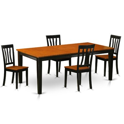 Loraine 5 Piece Dining Set Finish: Black and Cherry