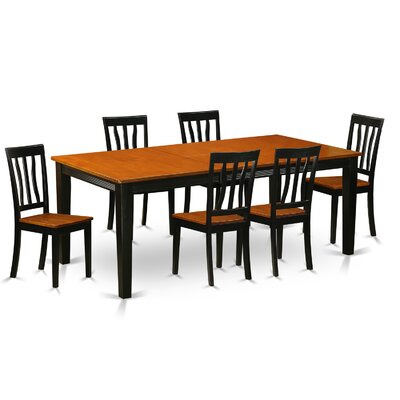 Loraine 7 Piece Dining Set Finish: Black and Cherry