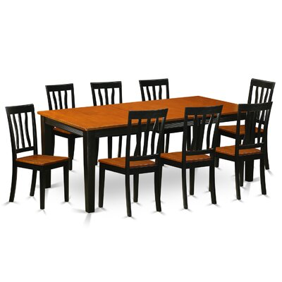 Loraine 9 Piece Dining Set Finish: Black and Cherry