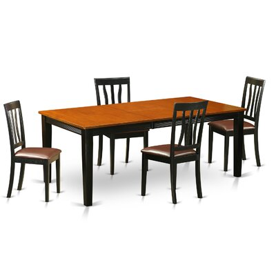 Loraine 5 Piece Dining Set Upholstery: Faux Leather