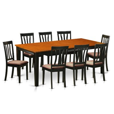Loraine 9 Piece Dining Set Upholstery: Microfiber Upholstery