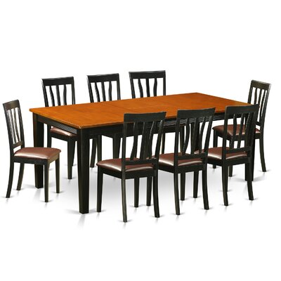 Loraine 9 Piece Dining Set Upholstery: Faux Leather