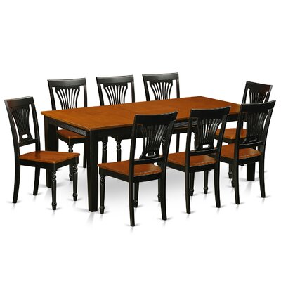 Loraine 9 Piece Dining Set Finish: Black / Cherry