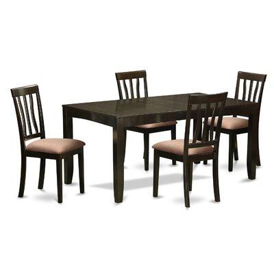 Lockmoor 5 Piece Dining Set Upholstery: Beige Microfiber