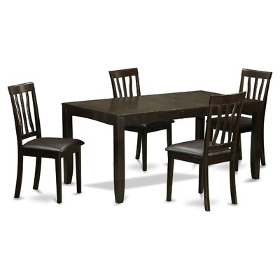 Lockmoor 5 Piece Dining Set Upholstery: Black Faux Leather