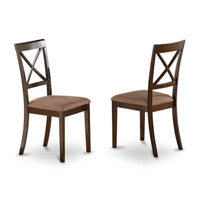 Hillhouse Side Chair (Set of 2) Finish: Cappuccino, Upholstery: Microfiber