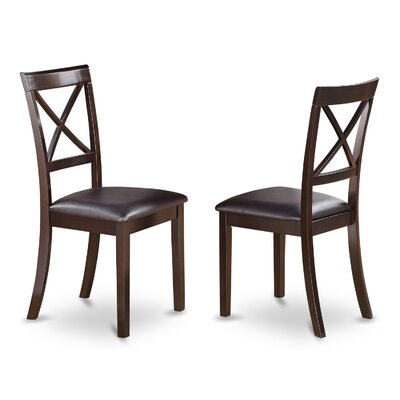 Hillhouse Side Chair (Set of 2) Upholstery: Faux Leather, Finish: Cappuccino