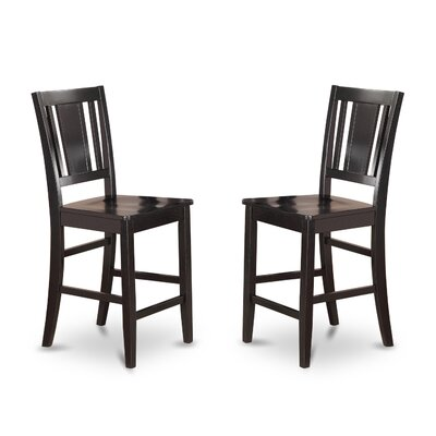 Lightner Counter Height Side Chair (Set of 2) Finish: Black, Upholstery: Wood