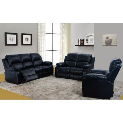 Maumee 3 Piece Leather Living Room Set Upholstery: Black