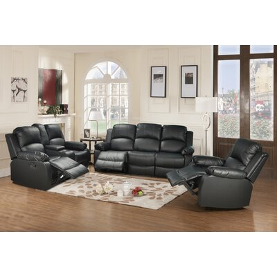 Mayday 3 Piece Living Room Set Upholstery: Black