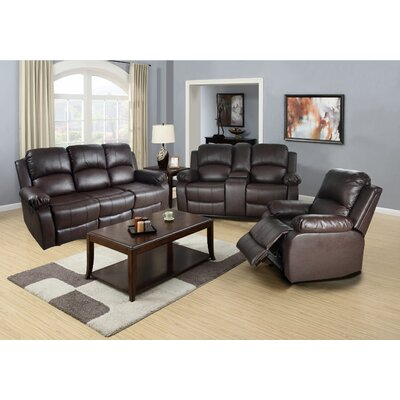 Mayday 3 Piece Reclining Living Room Set Upholstery: Brown