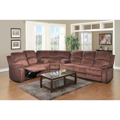 Maumee Reclining Sectional Upholstery: Dark Brown