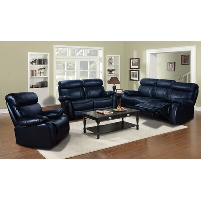 Market Garden 3 Piece Leather Living Room Set Upholstery: Black