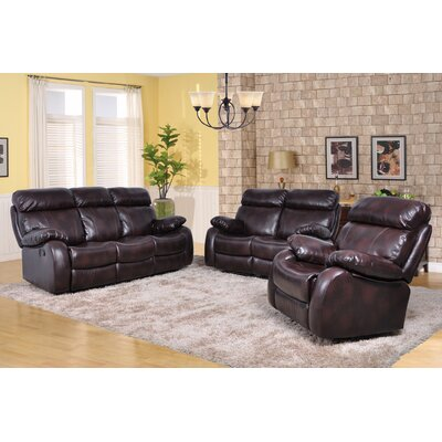 Market Garden 3 Piece Leather Living Room Set Upholstery: Brown