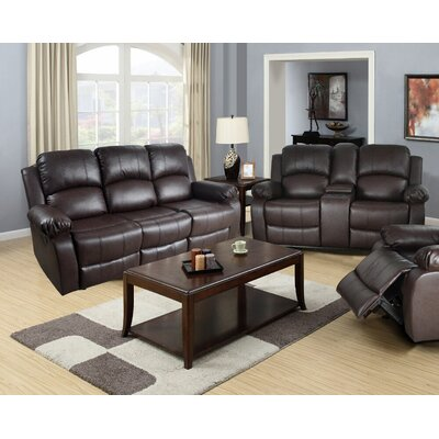 Mayday 2 Piece Leather Reclining Living Room Set Upholstery: Brown