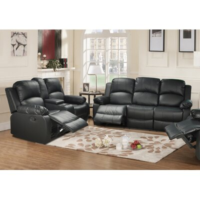 Mayday 2 Piece Leather Reclining Living Room Set Upholstery: Black