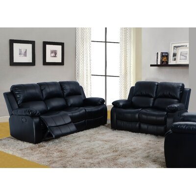 Maumee 2 Piece Bonded Leather Reclining Living Room Sofa Set Upholstery: Black