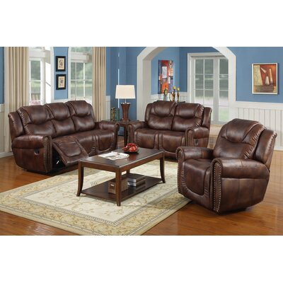 Marsh Island 3 Piece Bonded Leather Reclining Living Room Sofa Set