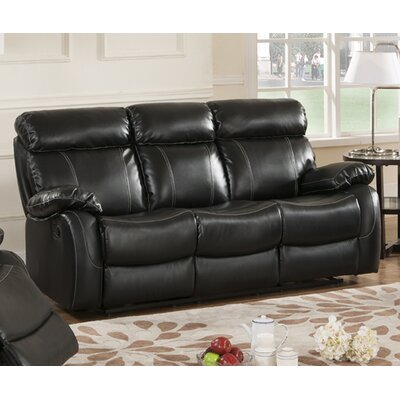 Market Garden Leather Reclining Sofa Upholstery: Black