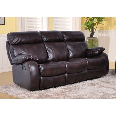 Market Garden Leather Reclining Sofa Upholstery: Brown