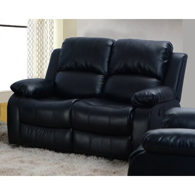 Maumee Reclining Loveseat Upholstery: Black