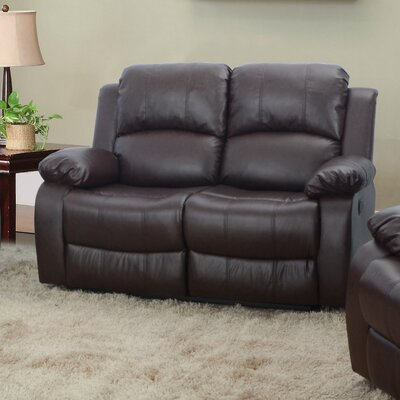 Maumee Reclining Loveseat Upholstery: Brown