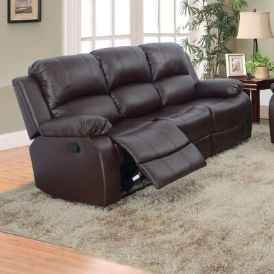 Maumee Reclining Sofa Upholstery: Brown