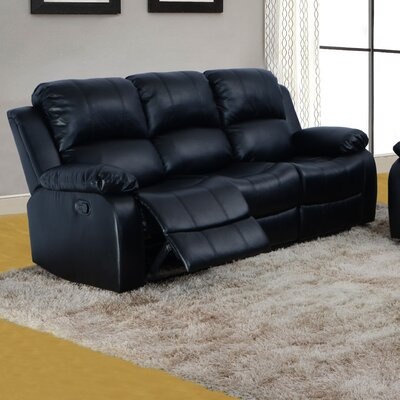 Maumee Reclining Sofa Upholstery: Black