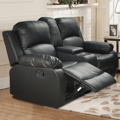 Mayday Console Reclining Loveseat Upholstery: Black