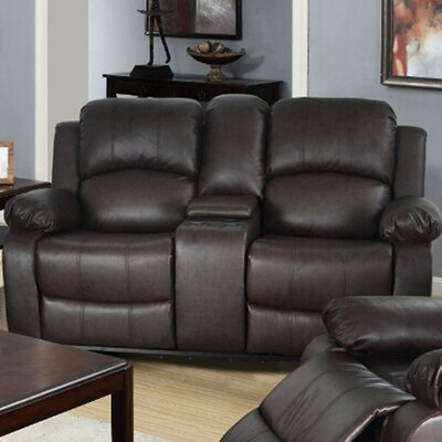 Mayday Console Reclining Loveseat Upholstery: Brown