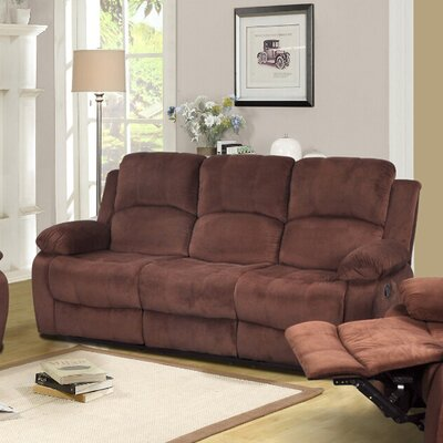 Maumee Reclining Sofa Upholstery: Dark Brown