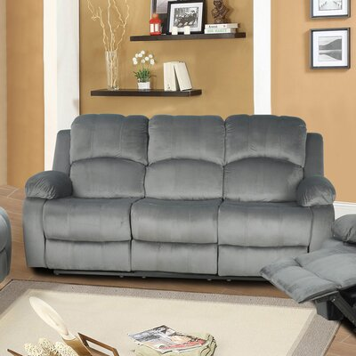 Maumee Reclining Sofa Upholstery: Grey