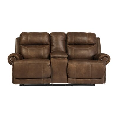 Culver Double Console Reclining Loveseat Type: Manual, Upholstery: Brown