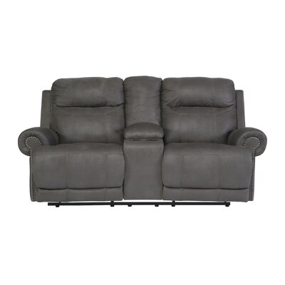 Culver Double Console Reclining Loveseat Type: Power, Upholstery: Gray