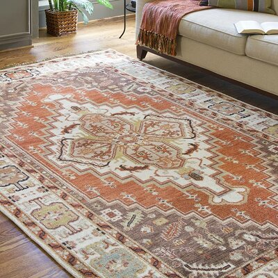 Orland Classic Beige/Rust Rug Rug Size: Rectangle 39 x 59
