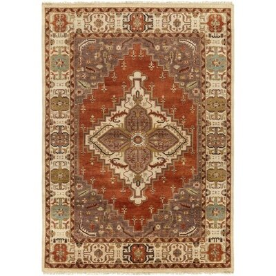 Orland Hand-Knotted Orange Area Rug Rug Size: 10 x 14