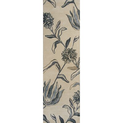 Odile Ivory/Blue Wildflowers Area Rug Rug Size: Runner 23 x 76