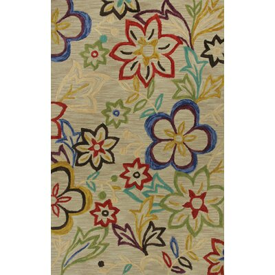 Lager Head Sunshine Green Floral Area Rug Rug Size: 79 x 99