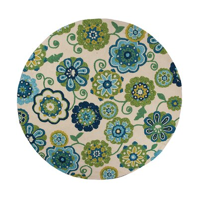 Elbert Ivory/Blue Verano Indoor/Outdoor Area Rug Rug Size: Round 76