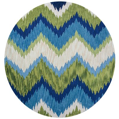 Lager Head Blue/Green Chevron Area Rug Rug Size: Round 56