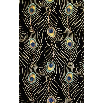 Las Cazuela Black Peacock Feathers Area Rug Rug Size: Rectangle 26 x 42