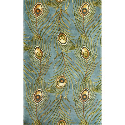 Las Cazuela Blue Peacock Feathers Novelty Area Rug Rug Size: 26 x 42