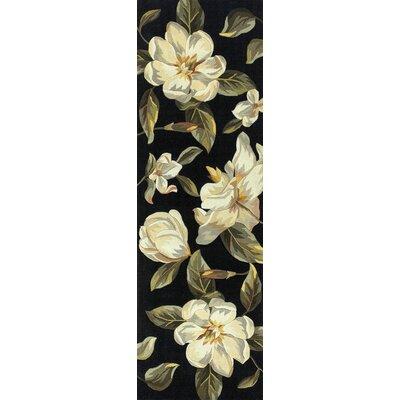 Las Cazuela Black Magnolia Area Rug Rug Size: Runner 26 x 8