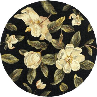 Las Cazuela Black Magnolia Area Rug Rug Size: Round 56