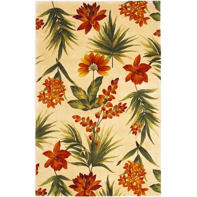 Las Cazuela Ivory Tropical Flora Rug Rug Size: Rectangle 79 x 106