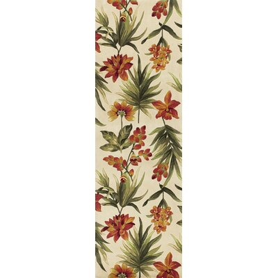 Las Cazuela Ivory Tropical Flora Rug Rug Size: Runner 26 x 8