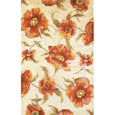 Las Cazuela Ivory Poppies Rug Rug Size: Rectangle 5 x 8