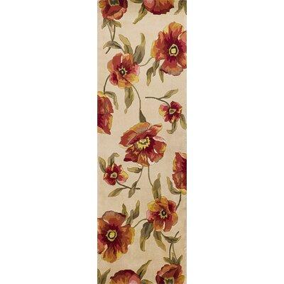 Las Cazuela Ivory Poppies Rug Rug Size: Runner 26 x 8