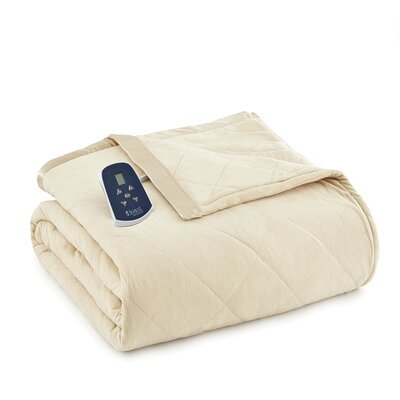 National 3 Piece Heated Comforter Blanket Size: Twin, Color: Chino