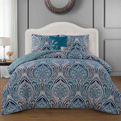 Liller 5 Piece Reversible Comforter Set Color: Teal, Size: King